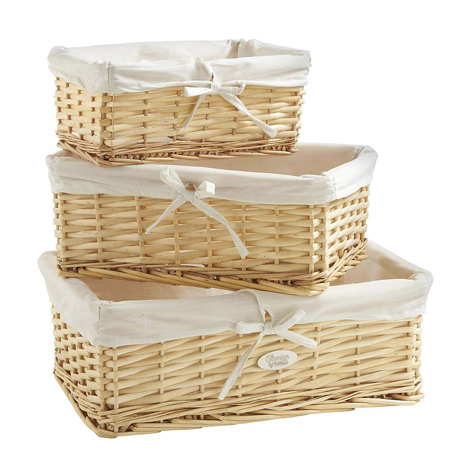 Natural Wicker Baskets with Removable Washable White Liners